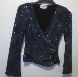 5f266d30c Tops - Flared-Sleeve Sparkly Blue Open-Chest Overshirt